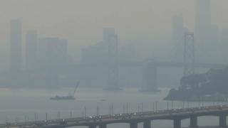 Smoky air over the Bay Bridge.