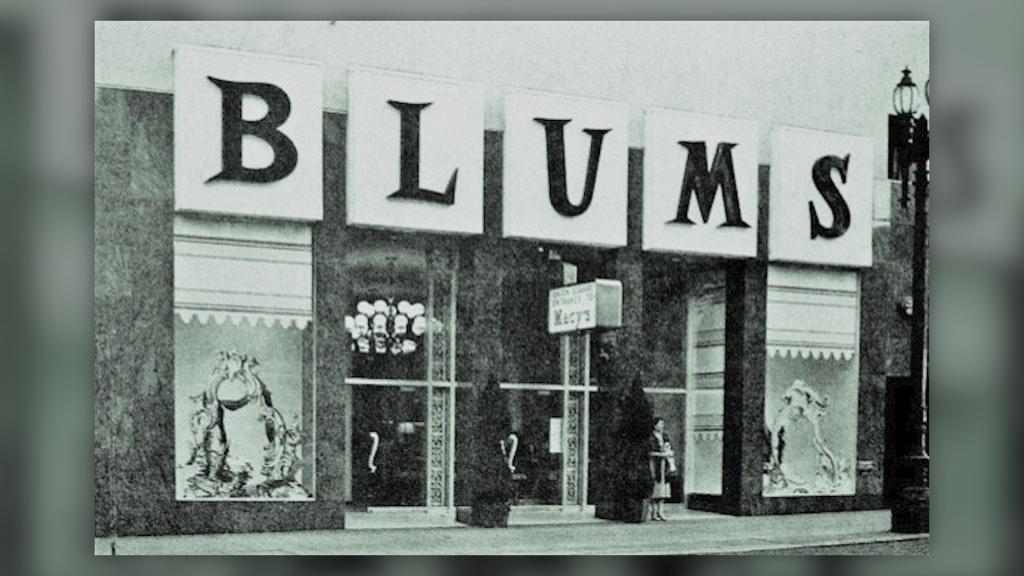 A historical photo of Blum's bakery in the Macy's building in San Francisco's Union Square