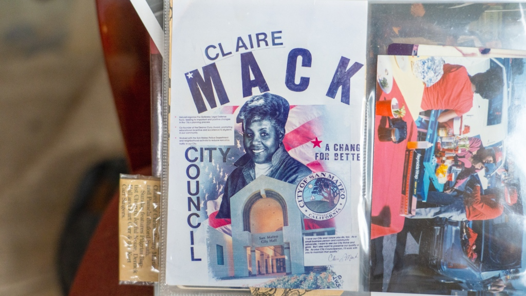 "Campaign poster with the words ""Claire Mack, City Council, A Change for Better"""