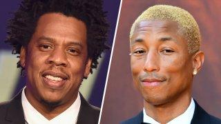 Jay-Z and (left) Pharrell Williams (right).
