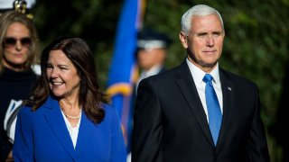 WASHINGTON, DC - SEPTEMBER 20: U.S. Second Lady Karen Pence and Vice President Mike Pence attend an official visit ceremony welcoming Australian Prime Minister Scott Morrison and Australian first lady Jennifer Morrison at the South Lawn at the White House September 20, 2019 in Washington, DC. Prime Minister Morrison will participate in an Oval Office meeting, a joint news conference, and a state dinner during his state visit in Washington.