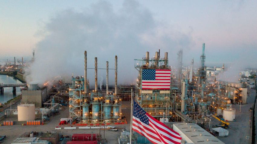 A view of the Marathon Petroleum Corp's Los Angeles Refinery in Carson, California, April 25, 2020 after the price for crude plunged into negative territory for the first time in history on April 20.
