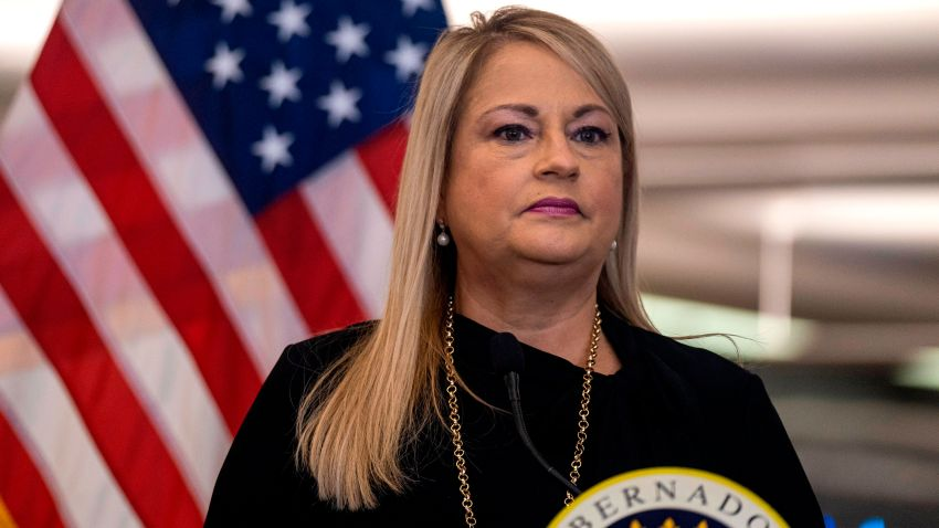 In this June 30, 2020, file photo, Puerto Rico Governor Wanda Vazquez Garced speaks during a press conference to announce strict new rules for all passengers flying into Puerto Rico to curb coronavirus cases in San Juan, Puerto Rico.