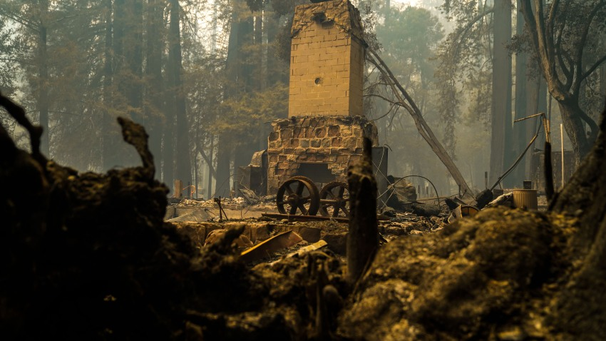 Remains of the Big Basin Redwoods State Park Headquarters and Visitor Center after a wildfire tore through the park.