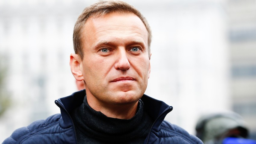 In this Sept. 29, 2019, file photo, Russian opposition leader Alexei Navalny attends a rally in support of political prisoners in Prospekt Sakharova Street in Moscow, Russia.