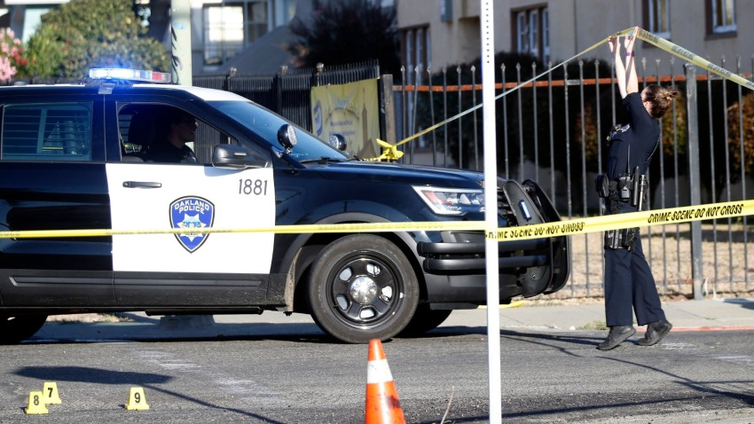 File image of Oakland police investigating a shooting.