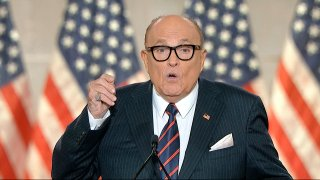 In this image from video, former New York City Mayor Rudy Giuliani, personal attorney to President Donald Trump speaks from New York, during the fourth night of the Republican National Convention on Thursday, Aug. 27, 2020.