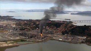 Flaring at the Chevron Richmond Refinery.