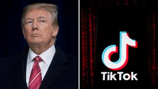 Foto de archivo del presidente Trump junto a la marca de TikTok.