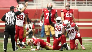 Chandler Jones of the Arizona Cardinals reacts after he sacked Jimmy Garoppolo of the San Francisco 49ers.