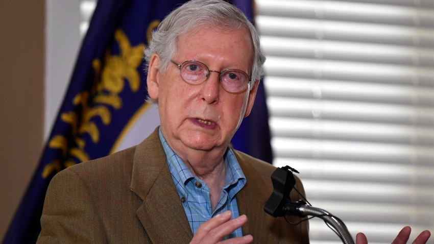 Senate Majority Leader Mitch McConnell, R-Ky., speaks to reporters following his acceptance of the endorsement of the Kentucky Fraternal Order of Police i his Senate reelection bid in Lexington, Ky., Tuesday, Sept. 1, 2020.