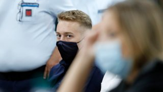 Finnegan Lee Elder, from California, looks on during a break in his trial where he and his friend Gabriel Natale-Hjorth are accused of slaying a plainclothes Carabinieri officer while on vacation in Italy last summer, in Rome, Wednesday, Sept. 16, 2020.