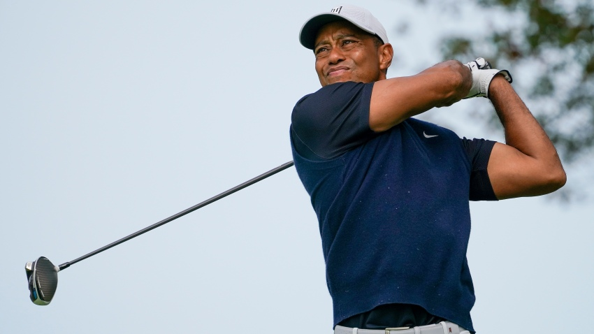 In this Sept. 17, 2020, file photo, Tiger Woods, of the United States, plays his shot from the ninth tee during the first round of the US Open Golf Championship in Mamaroneck, New York.