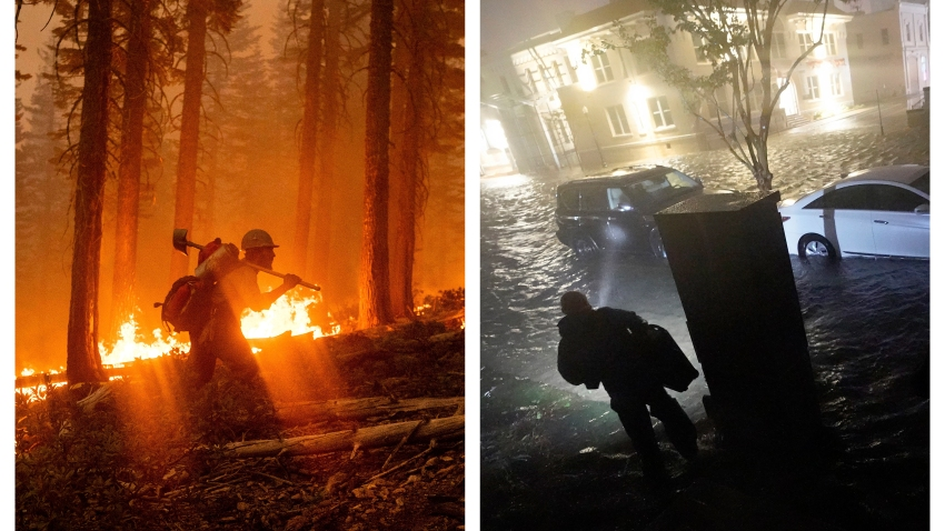 This combination of photos shows a firefighter at the North Complex Fire in Plumas National Forest, Calif., on Monday, Sept. 14, 2020, left, and a person using a flashlight on flooded streets in search of their vehicle, Wednesday, Sept. 16, 2020, in Pensacola, Fla.