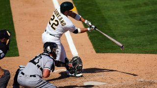 Ramón Laureano of the Oakland Athletics grounds into a force out.