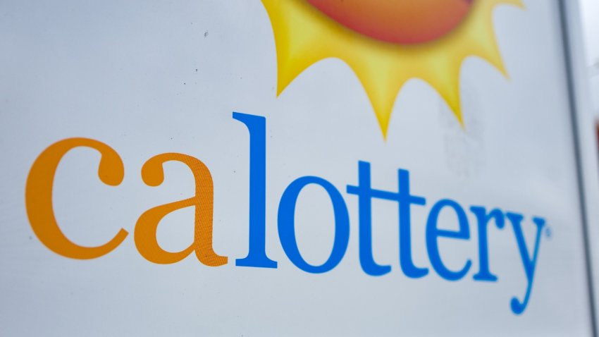 Close-up of sign for CALottery.