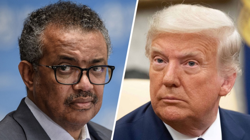 Tedros Adhanom Ghebreyesus, director-general of the World Health Organization (left) and President Donald Trump (right).