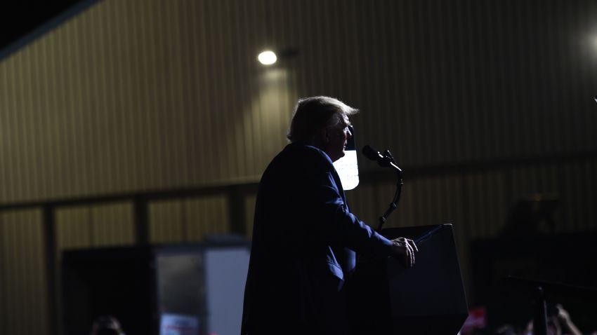 US President Donald Trump speaks during a rally at Newport News/Williamsburg International September 25, 2020, in Newport News, Virginia.