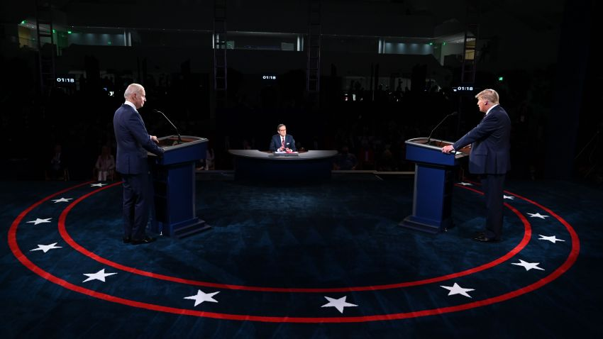 US President Donald Trump (R) and Democratic presidential candidate Joe Biden take part in the first presidential debate at Case Western Reserve University and Cleveland Clinic in Cleveland, Ohio, on September 29, 2020.