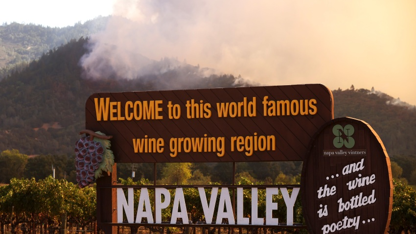 Smoke from the Glass Fire rises from the hills on September 27, 2020 in Calistoga.