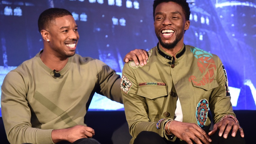 """Actors Michael B. Jordan (L) and Chadwick Boseman attend the Marvel Studios' """"Black Panther"""" Global Junket Press Conference on Jan. 30, 2018 at Montage Beverly Hills in Beverly Hills, California."""