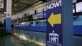 The Monmouth Park Sports Book is viewed in New Jersey