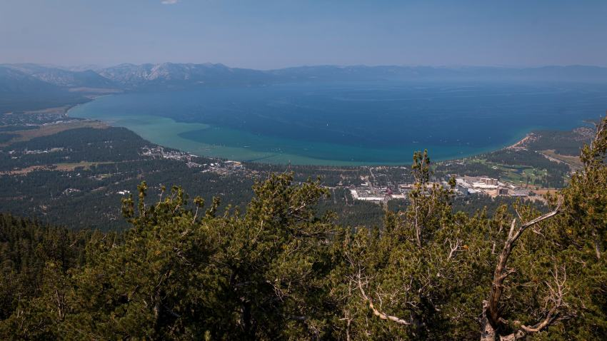 Lake Tahoe is seen from a viewpoint.
