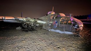 A World War II-era plane after it crashed in a field in central California.