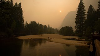 Thick smoke shrouds Yosemite Valley.