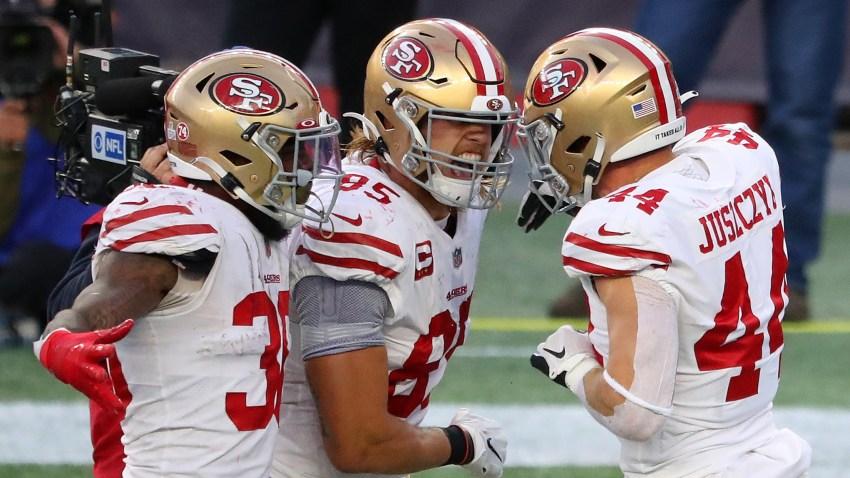 Kyle Juszczyk of the San Francisco 49ers celebrates his touchdown.