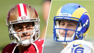 Jimmy Garoppolo #10 of the San Francisco 49ers (left) and Jared Goff #16 of the Los Angeles Rams (right).