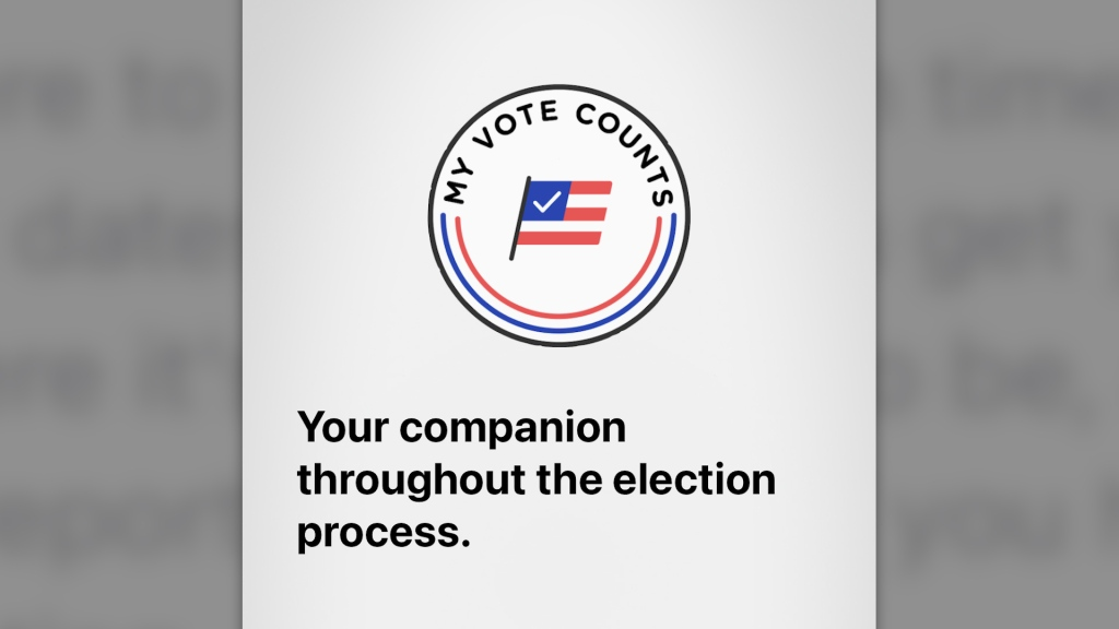 """splash screen for an app that says """"my vote counts."""" Headline: """"Your companion throughout the election process."""""""