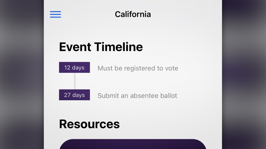 """""""Event timeline: 12 days - Must be registered to vote. 27 days - Submit an absentee ballot"""
