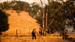 Firefighters watch as the edge of the fire creeps across a field.