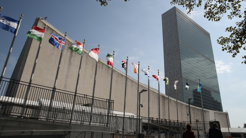 NEW YORK CITY, USA - SEPTEMBER 23, 2019: The Headquarters of the United Nations ahead of the 74th Session of the UN General Assembly.
