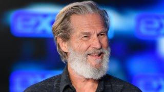 "In this Dec. 13, 2019, file photo, Jeff Bridges visits ""Extra"" at Burbank Studios in Burbank, California."