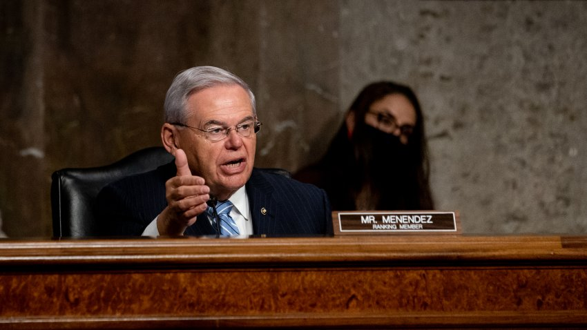 In this Sept. 24, 2020, file photo, Senate Committee on Foreign Relations Ranking Member Bob Menendez (D-NJ) speaks during at a Senate Committee on Foreign Relations hearing on US Policy in the Middle East on Capitol Hill in Washington, D.C.