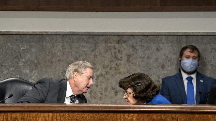 Senator Lindsey Graham, a Republican from South Carolina and chairman of the Senate Judiciary Committee, left, speaks to ranking member Senator Dianne Feinstein, a Democrat from California, during a hearing in Washington, D.C., U.S., on Wednesday, Sept. 30, 2020.