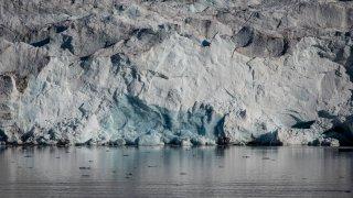 Ice melts near Nordenskjodbreen glacier on August 25, 2020 on the Norwegian Arctic Svalbard archipelago, Norway.