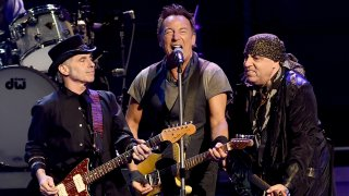 Nils Lofgren, Bruce Springsteen and Stevie Van Zandt perform with Bruce Springsteen and the E Street Band at the Los Angeles Sports Arena