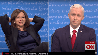"""Maya Rudolph plays Kamala Harris and Beck Bennett plays Vice President Mike Pence on """"Saturday Night Live,"""" October 10, 2020."""