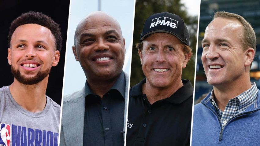 Stephen Curry (far left), Charles Barkley (center left), Phil Mickelson (center right) and Peyton Manning (far right).