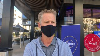 Golden State Warriors coach Steve Kerr discusses the voting process at the Chase Center drop-off location on Saturday, Oct. 31, 2020.