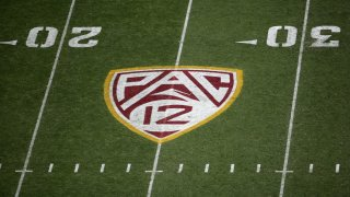 Pac-12 logo on the field.