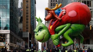 The balloon of The Grinch is seen during the 2019 Macy's Thanksgiving Day Parade