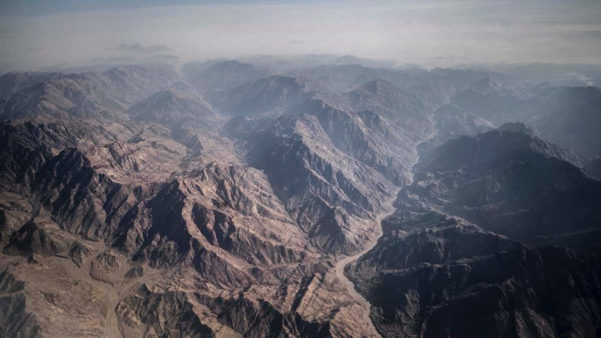 An aerial view shows the Sinai mountains of the Egyptian Red Sea resort of Sharm el-Sheikh