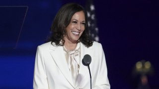 In this Nov. 7, 2020, file photo, Vice President-elect Kamala Harris smiles while speaking during an election event in Wilmington, Delaware.