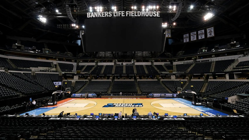 General view of Bankers Life Fieldhouse before The University of Michigan takes on the University of Louisville during the 2017 NCAA Men's Basketball Tournament, March 19, 2017, in Indianapolis, Indiana.