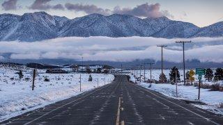 Heavy snow coats the Eastern Sierra