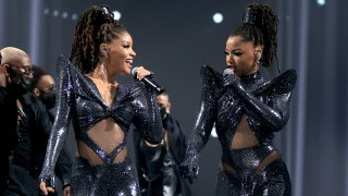 In this image released on November 15, (L-R) Halle Bailey and Chloe Bailey of Chloe X Halle perform onstage for the 2020 E! People's Choice Awards held at the Barker Hangar in Santa Monica, California and on broadcast on Sunday, November 15, 2020.